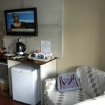 Flat-screen TV and mini-bar
