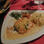 Crab stuffed parrot fish with pasta & veggies