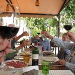 Oct. 2013: toasting our great lunch at Le Delizie Del Borgo