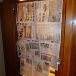 What we had to do for bathroom privacy. We taped newspaper to this gorgeous, antique door.