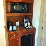 Microwave and refrigerator center with coffeemaker