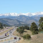 view of Rockies from Lariat Loop before getting on I-70