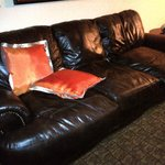 Amazing - soft leather couch downstairs in duplex room