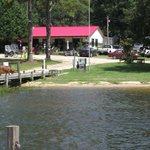 View of Taw Caw Campground & Marina store and boat launch from the marina.
