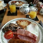Lovely yummy breakfast! Meat for me and Vegetarian for Hubby