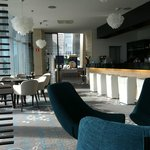 Hotel bar and lobby owerview