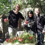 Picking pomegranates with Maia, at Green House Hostel