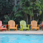 Colourful chairs at the pool