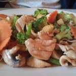 Vegetable stir fry with chicken