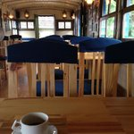 Inside the train car cafe