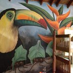 Mural on one wall of jungle room