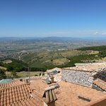 View to Montefalco and Assisi from Tetti di Trevi terrace