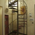 Circular staircase to upstairs rooms