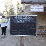 Dinner menu at Merced Lake