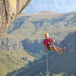 Cathedral Peak abseil, Central Drakensberg, South Africa