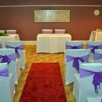 The room we set up ready for the wedding. Please note that you have to supply your own chain cov