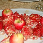 Fresh pomegranate and apples for dessert