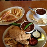 Arturo's grilled cheese with bacon and tomato and fried catfish accompanied by world famous Texa