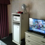 Nice big Sony TV, refrigerator and microwave.
