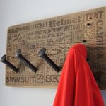 Railroad spike coat rack