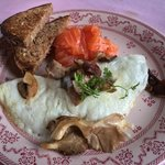 Egg white omelet with smoked salmon on the side for breakfast