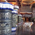 Lobby with Tibeten prayer wheels