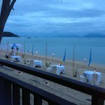 Beach tables at Chom Dao restaurant