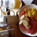 Great start with fresh fruit, juice & coffee