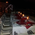 Table set for 8 at the Plataue restaurant