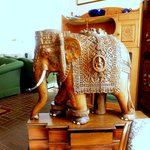 wood carved elephant in the living room - beautiful