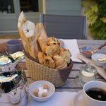 Amazing breakfast - coffee and breadbasket for two