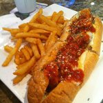 Meatball sub and french fries