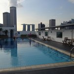 The view of Singapore's skyline from the rooftop pool deck