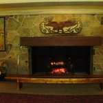 The log fire in the lobby