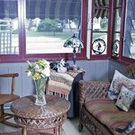 Inn porch with cat