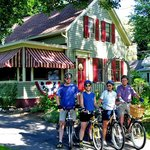 Family of bikers at the Sugar Maple Trailside Inn