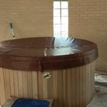 Your own, private hot tub. There's an MP3 dock!