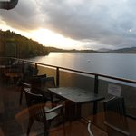 view over the loch while having dinner
