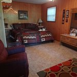 Pet friendly cottage showing main living area with king size bed