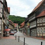 Typical street of half-timbered buildings in Stolberg