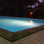 swimming pool, night view