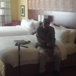 My father (WWII Vet) in our double queen room