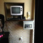 Tiny TV , cracks in the wall, bad wiring, Safe box right by the door!!!