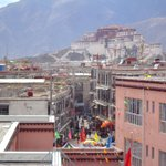 Potala palace seen from rooftop restaurant