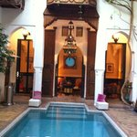 Riad pool and view of sitting room