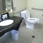 Handicapped bathroom with roll in shower.