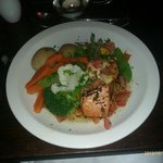 Salmon with thyme butter and vegetables. Really nice. Very generous!