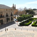 View from our bedroom window of the square in front of the parador.