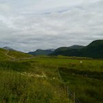 View from just outside bunkhouse, with Ben Nevis path in foreground