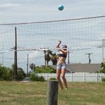 Brought my own net to put up on the available posts for a game of volleyball!